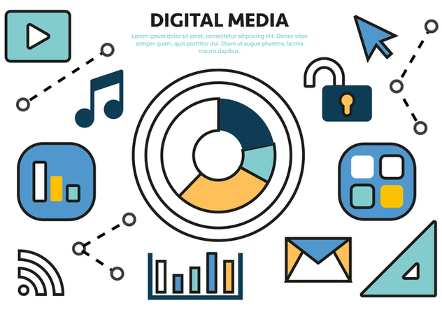 Free Flat Digital Media Concept Vector - Free vector #420577