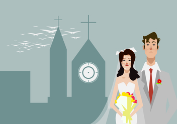 Bride and Groom Standing in Front of the Church Illustration - Free vector #420787