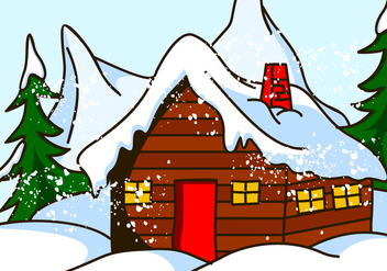 Chalet House in Snow Vector - Free vector #420987
