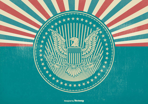American Eagle Seal on Retro Background - Free vector #420997