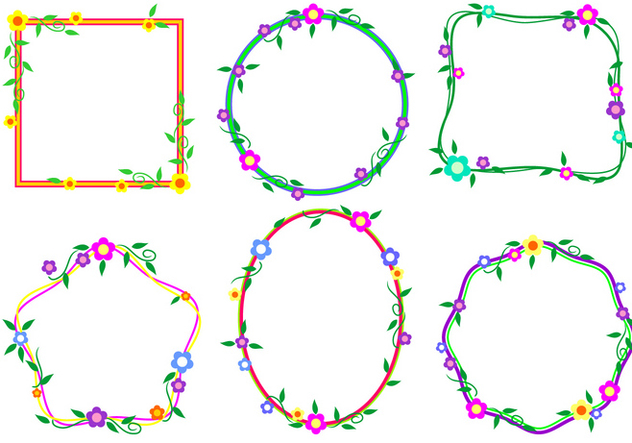 Floral Border Funky Frames Free Vector - vector gratuit #421027