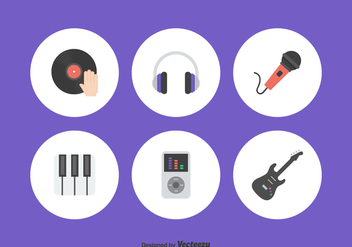 Flat Music Icons Vector Set - Free vector #421047