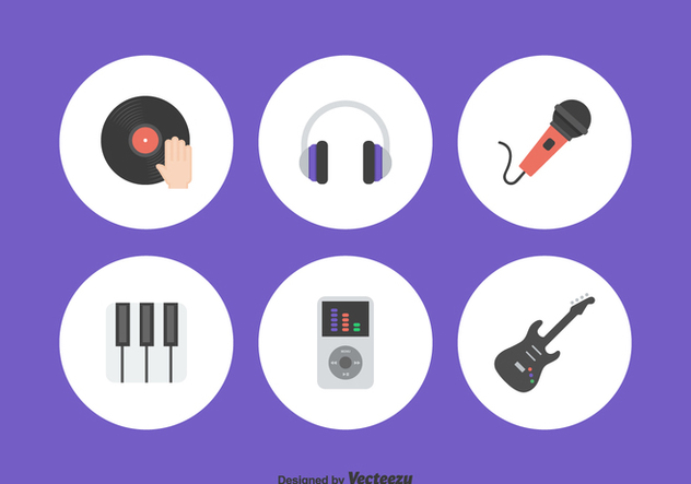 Flat Music Icons Vector Set - бесплатный vector #421047