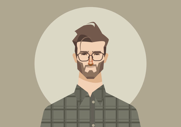 Young Man With Glasses And Flannel Shirt Vector - vector gratuit #421057