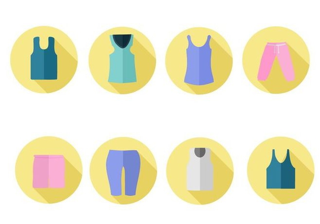 Free Women Sports Clothes Icons Vector - vector gratuit #421097