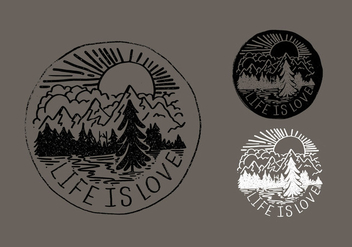 Life Is Love Mountain Badge Vectors - Free vector #421117