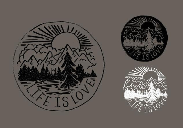 Life Is Love Mountain Badge Vectors - бесплатный vector #421117