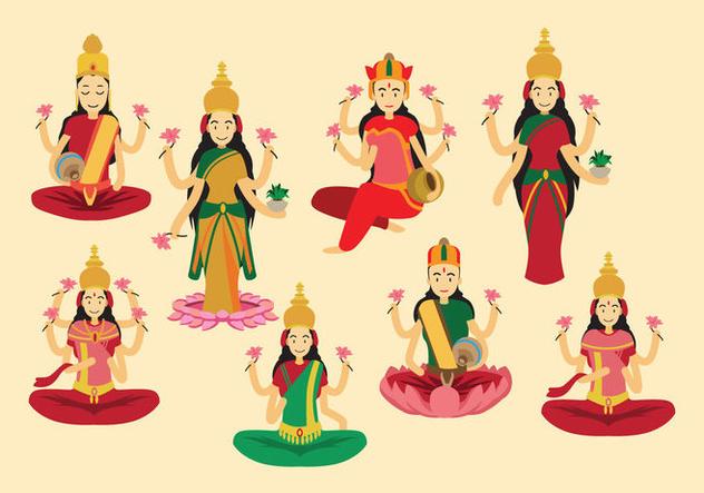 Lakshmi Goddess Vector - бесплатный vector #421207