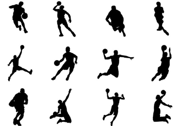 Silhouette of Basketball Vectors - Free vector #421397