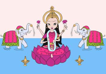 Lakshmi & Elephants Free Vector - Kostenloses vector #421467