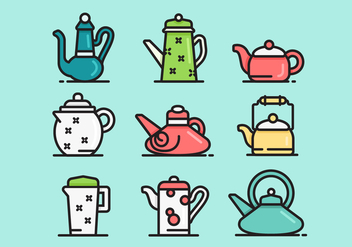 Cute Teapot Icon Vector Sets - Free vector #421727