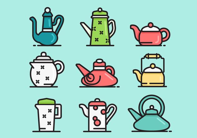 Cute Teapot Icon Vector Sets - Free vector #421727