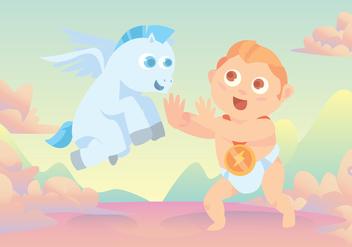 Baby Hercules and Pegasus Vector - Free vector #421747
