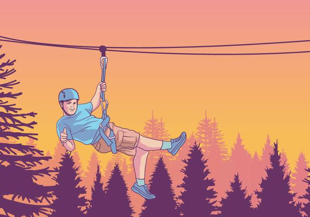 Kid Sliding Down A Zipline Vector - Free vector #421807