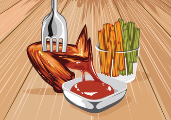 Buffalo Wings & Sauce Vector - Free vector #421817