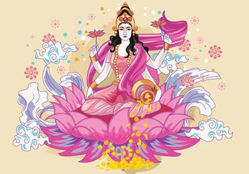 Pink & Flowery Goddess Lakshmi Vector - бесплатный vector #421827