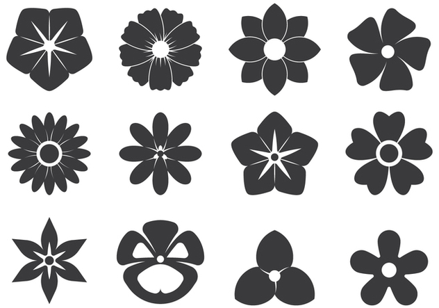 Black Cutout Symbols Of Flowers - Free vector #421917