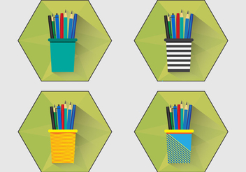 Pen Holder Flat Icon - Free vector #422417