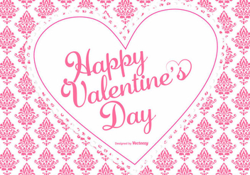Cute Pink Damask Valentine's Day Background - Free vector #422497