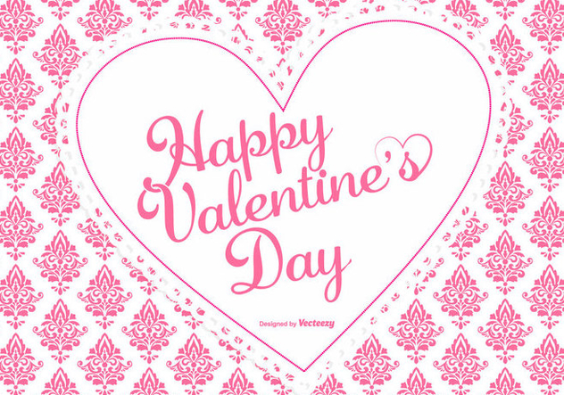 Cute Pink Damask Valentine's Day Background - vector #422497 gratis