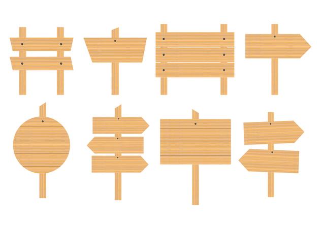 Free Blank Wooden Sign Board Vectors - vector #422537 gratis