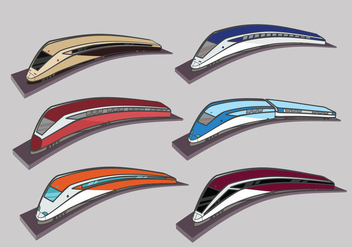High speed rail TGV city train illustration color - бесплатный vector #423297
