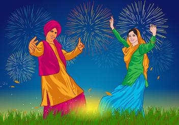 Bhangra Dancers at Night Vector - Free vector #423477