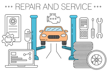 Free Vehicle Repair and Service Shop Vectors - vector gratuit #423807