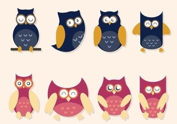 Flat Owl Vectors - Free vector #424327
