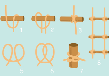 How to Make Rope Ladder - vector gratuit #424337