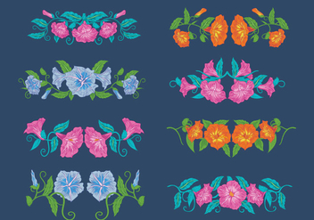 Vintage Petunia Flowers, Horizontal Bouquet - Free vector #424407