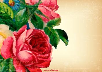Vintage Grunge Flower Background - Free vector #424617