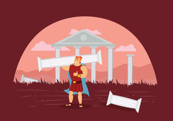 Free Hercules With Ruins of Temple Illustration - vector gratuit #424667