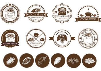 Cocoa Beans and Coffee Label Vectors - vector gratuit #425297