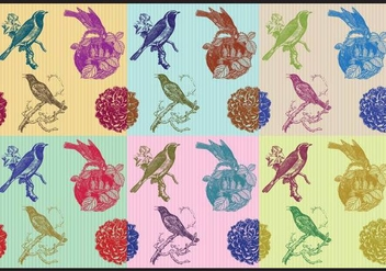 Birds And Flowers Patterns - Free vector #425307