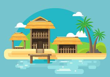 Cabana Beach Vector - бесплатный vector #425797