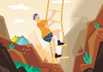 Rope Ladder Adventure Mountain Climbing Illustration - Free vector #426367