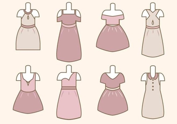 Flat Woman's Dress Vectors - Free vector #427437