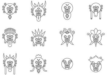 Minmal Bali Barong Mask Vectors - бесплатный vector #427567