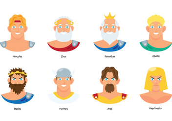 Greek God Bust Vectors - Free vector #427647