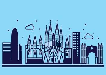 Sagrada Familia Linear Vector Background - Kostenloses vector #427677