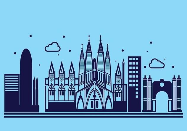 Sagrada Familia Linear Vector Background - vector gratuit #427677