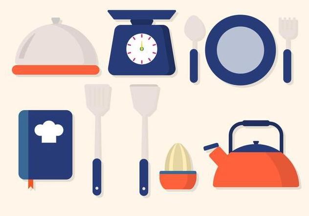 Flat Kitchen Utensil Vector - vector gratuit #427717
