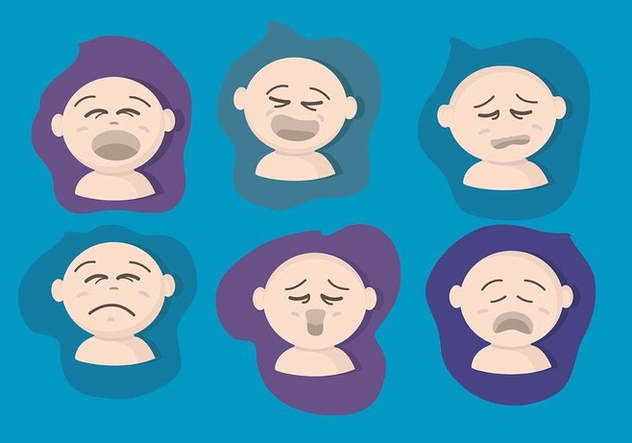 Crying Baby Face Vector Set - Free vector #427807