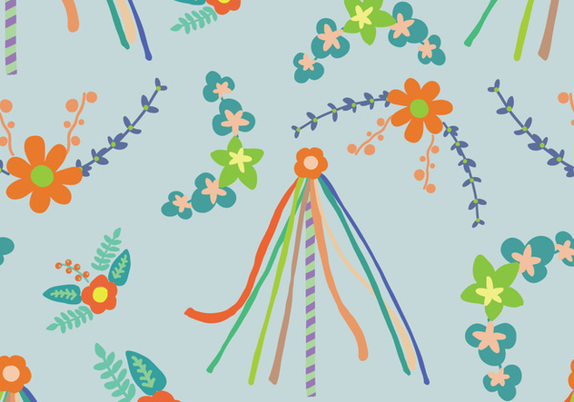 Floral Maypole Pattern - Free vector #427837