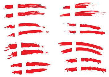 Painted Danish Flag Vectors - Kostenloses vector #428357