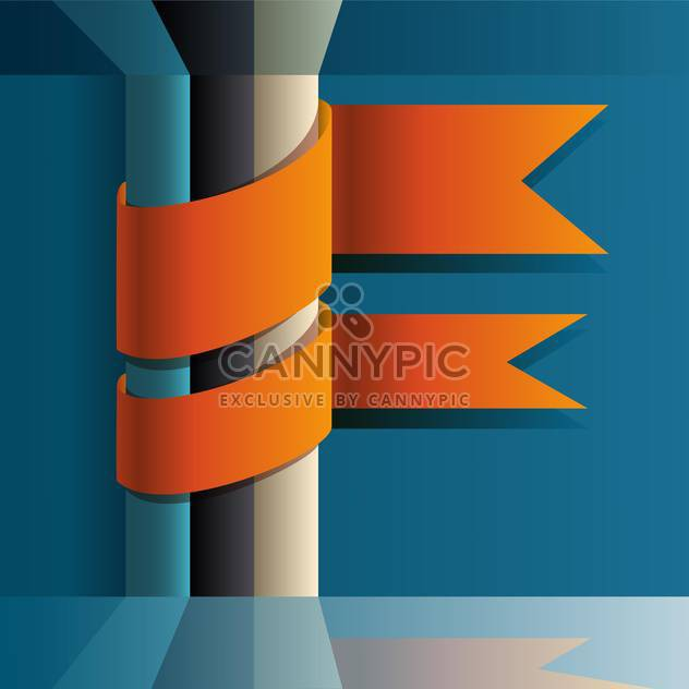 Vector illustration of orange ribbons on blue background with place for text - Free vector #125777