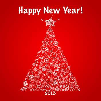 Vector illustration of abstract christmas tree with happy new year - vector gratuit #125787