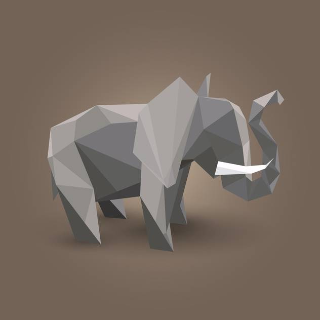 Vector illustration of gray origami elephant on brown background - vector gratuit #125797
