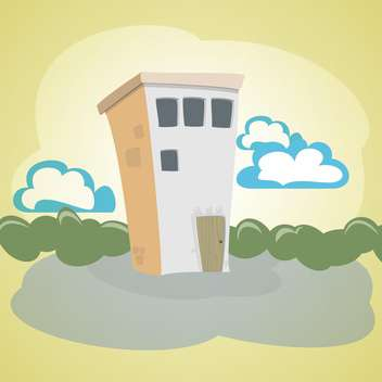 Vector illustration of cartoon stone house with green trees and blue clouds - бесплатный vector #125827
